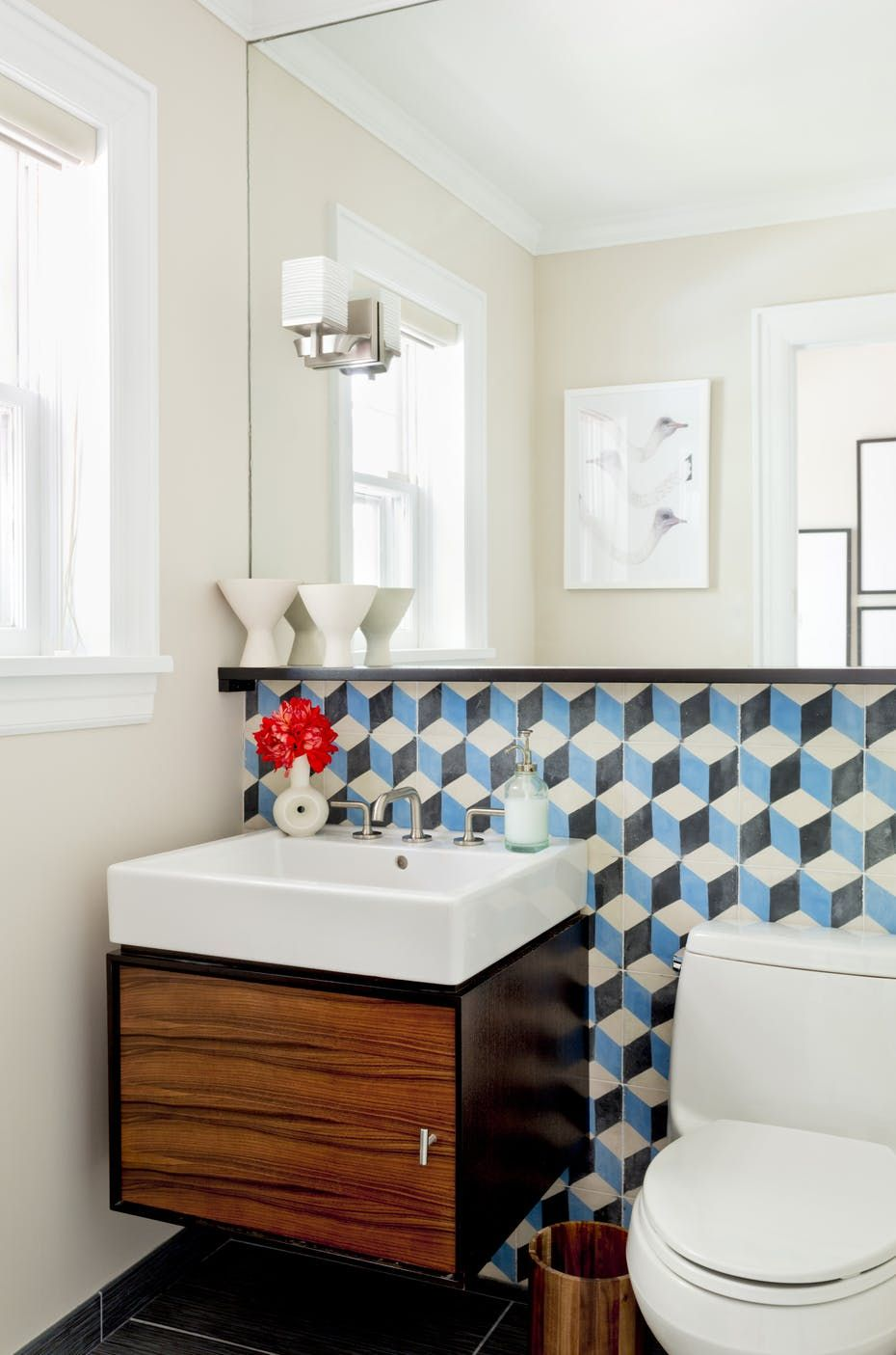 Fresh Modern Powder Room With Cement Encaustic Tile Scarsdale