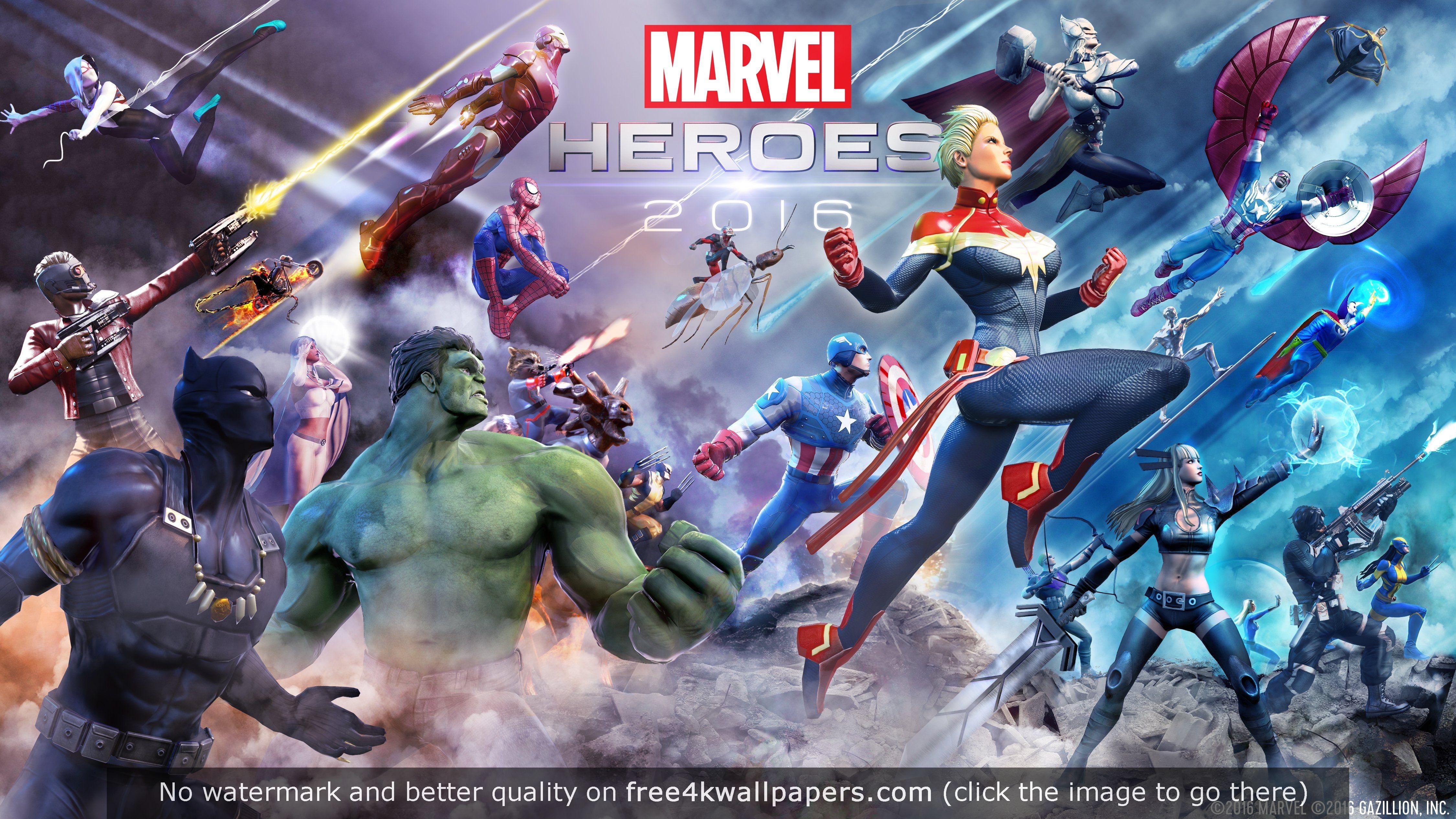 Marvel Heroes 4K wallpaper Marvel heroes game, Marvel