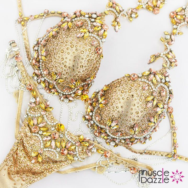 1188dc006e Be bold...go gold! This gold Bikini Diva competition suit combines peach