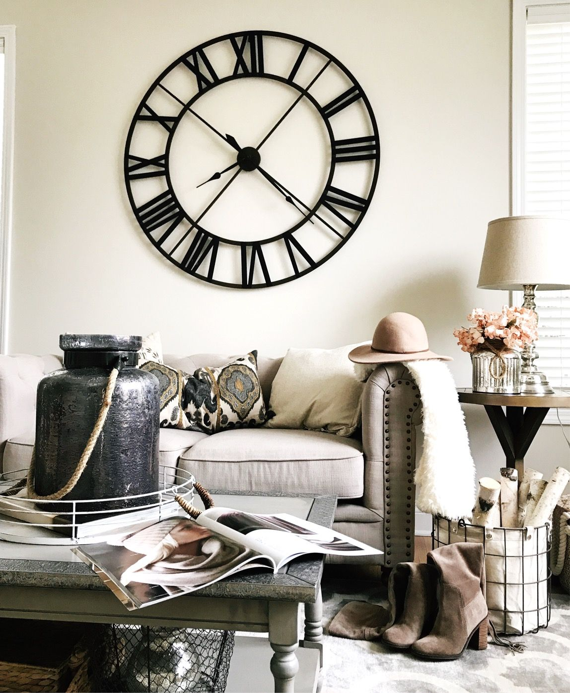 Rustic Farmhouse Decor Living Room Decor Ideas Large Wall Clock White Decor Th Wall Clocks Living Room Rustic Farmhouse Decor Farmhouse Decor Living Room