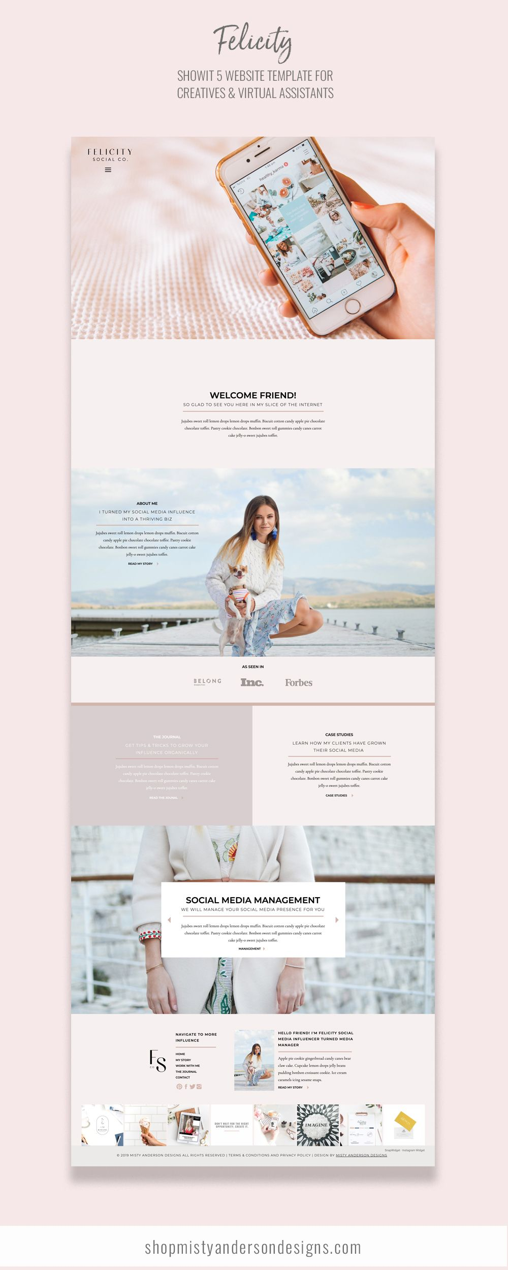 Felicity Is The Perfect Website Template For Social Media Managers Or Really Any Service Based Web Design Websites Simple Website Design Web Design Inspiration