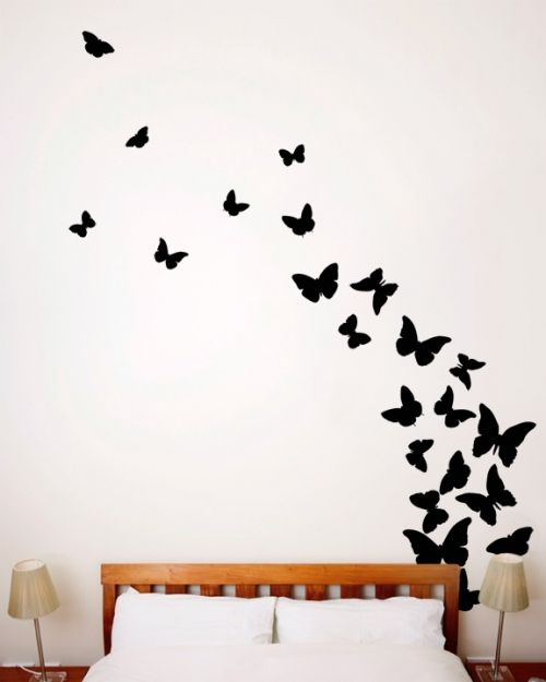 34 64 Butterfly Wall Decal Black Butterfly Wall Decals