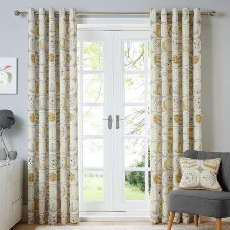 Modern Nature Ochre Lined Eyelet Curtains Dunelm