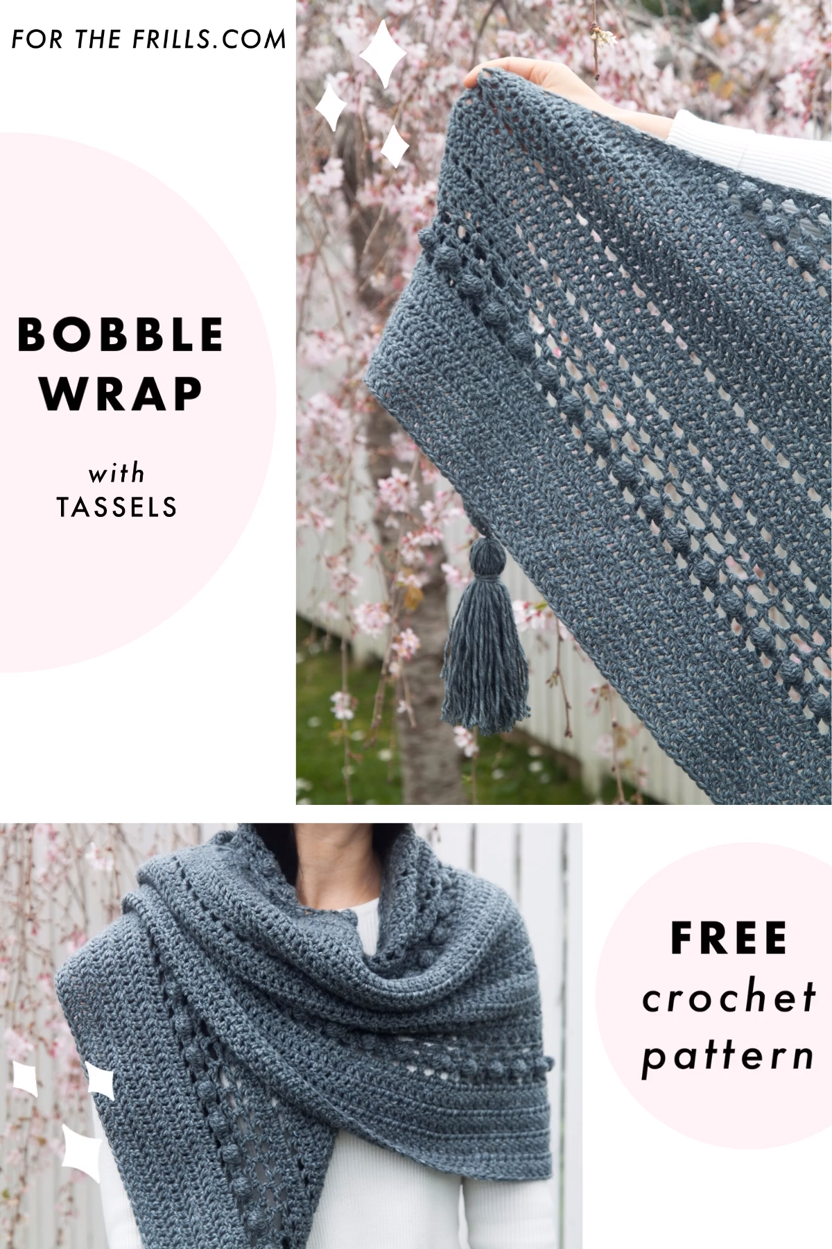 Photo of Free crochet pattern – Bobble Stitch Wrap with chunky tassels