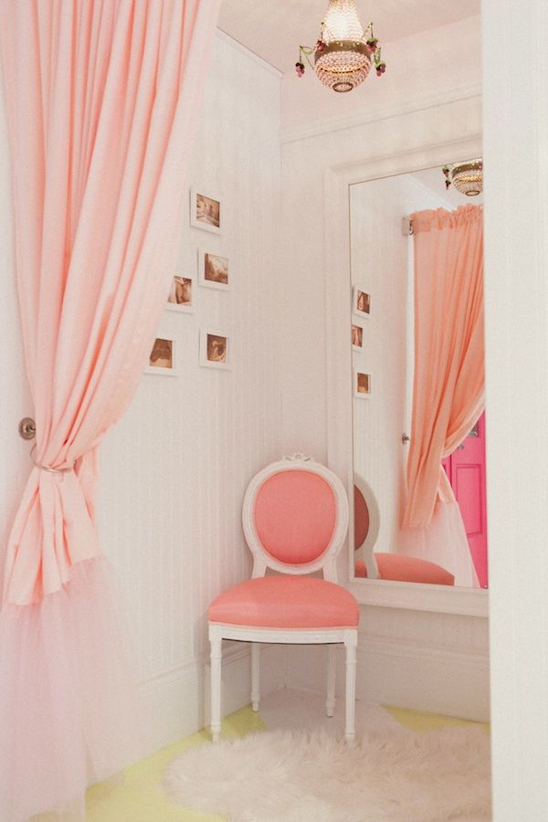 Easy to make dressing room. Take a curtain and it's rack, hang it in the corner of a room, put in lights, a chair, hangers, and a mirror... now you have a dressing room.