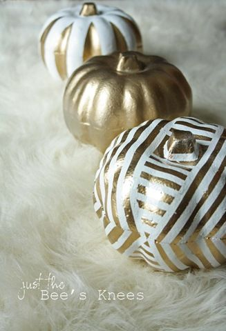 Use Gold Valspar Spray paint to create these glam, halloween pumpkins.