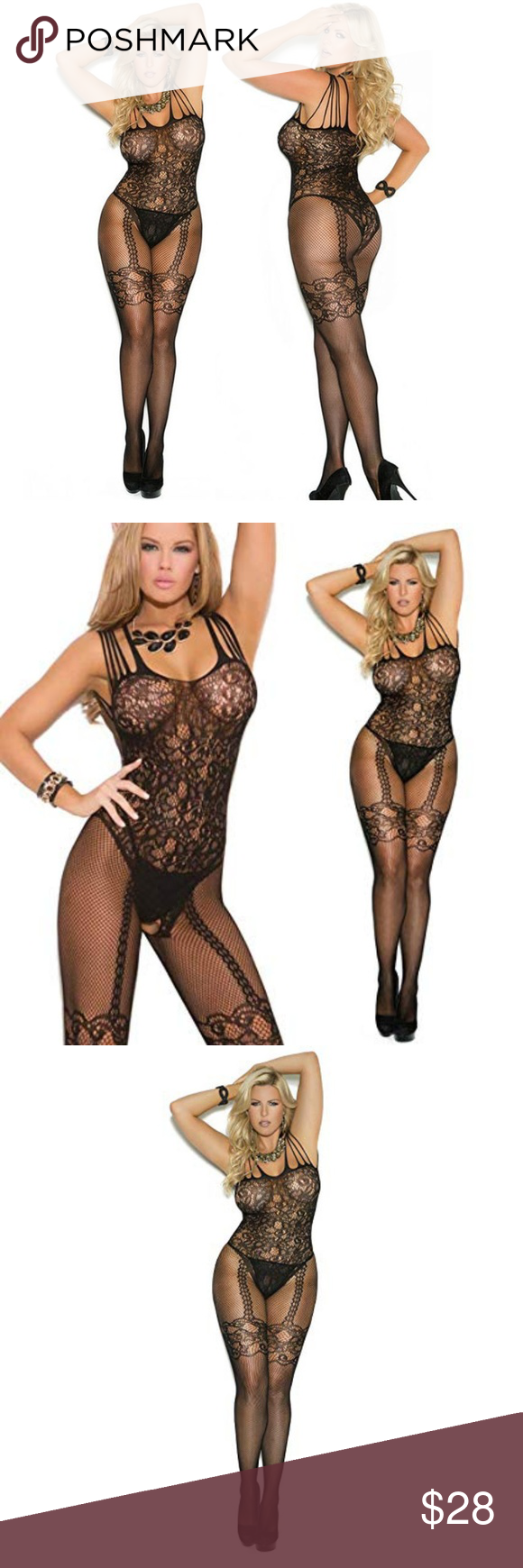 a3be3afb8be PLUS Sexy Black Sheer Lace Body Stocking You ll never think of bedtime the  same
