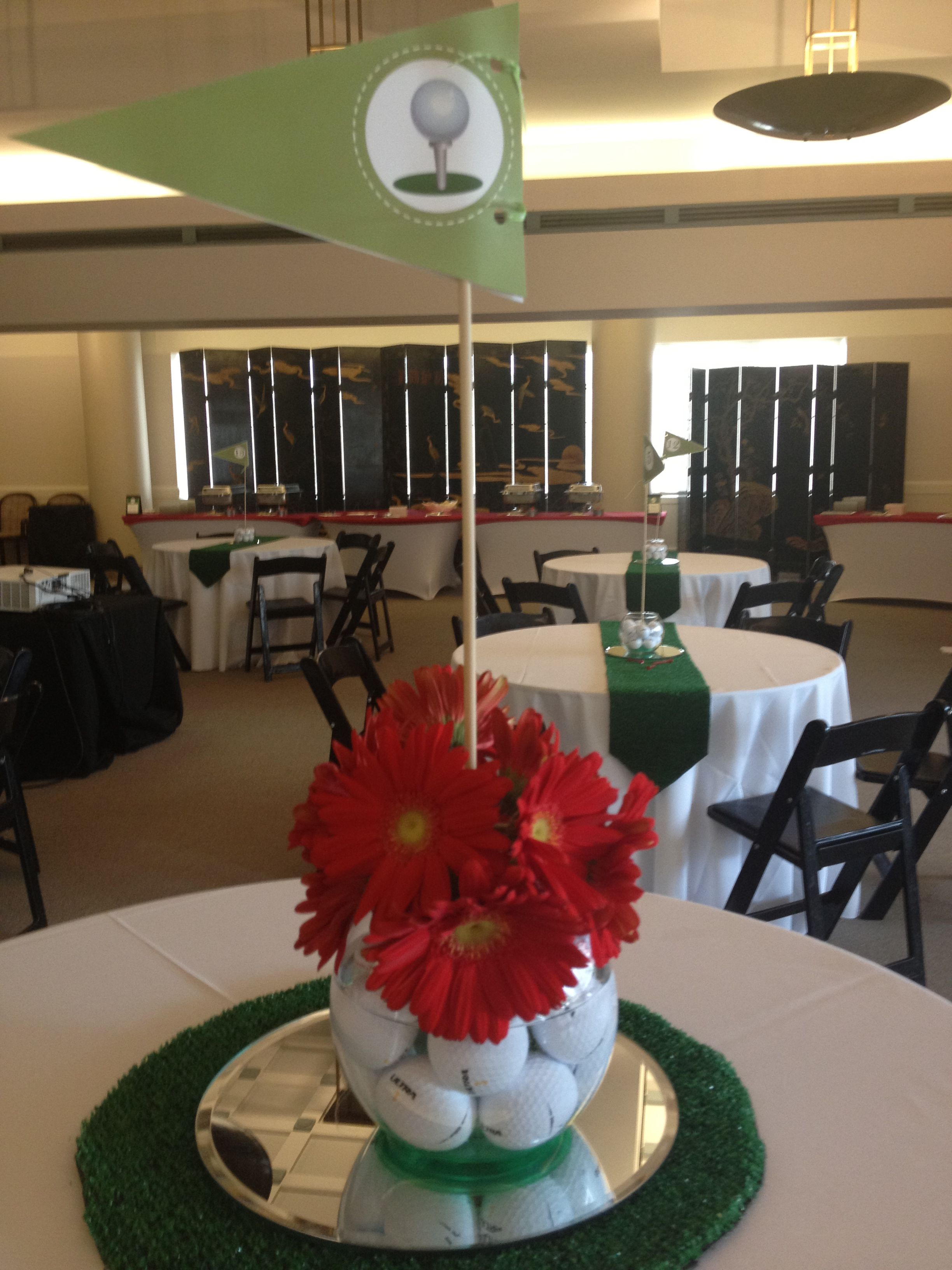 Golf Themed Table Centerpieces For A Retirement Partyuse Fishing