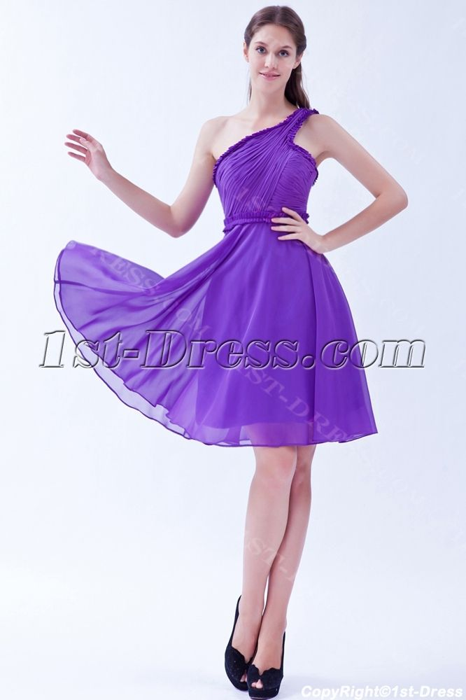 One Shoulder Cheap Purple Short Homecoming Dresses | sandra ...