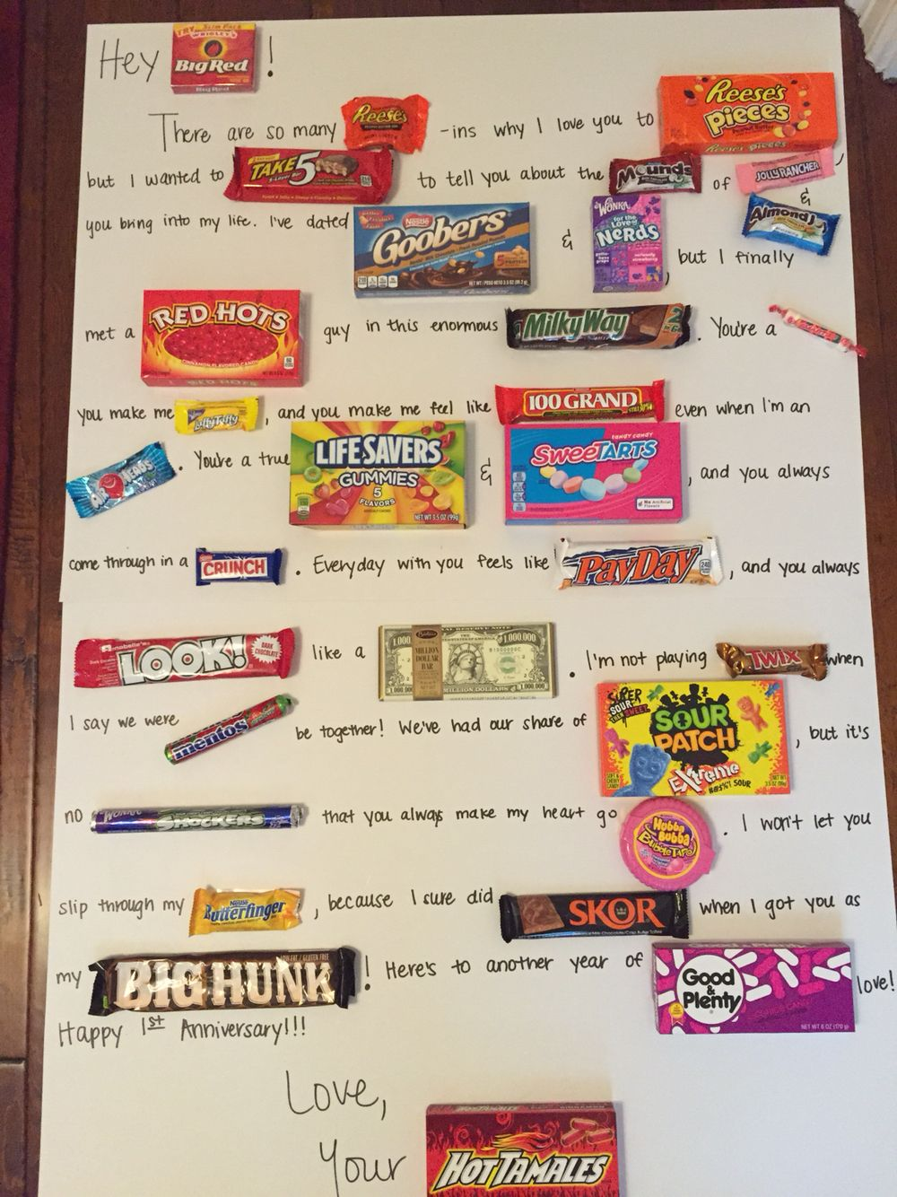 Valentine S Anniversary Candy Poster Candy Birthday Cards Birthday Gifts For Best Friend Diy Valentines Gifts