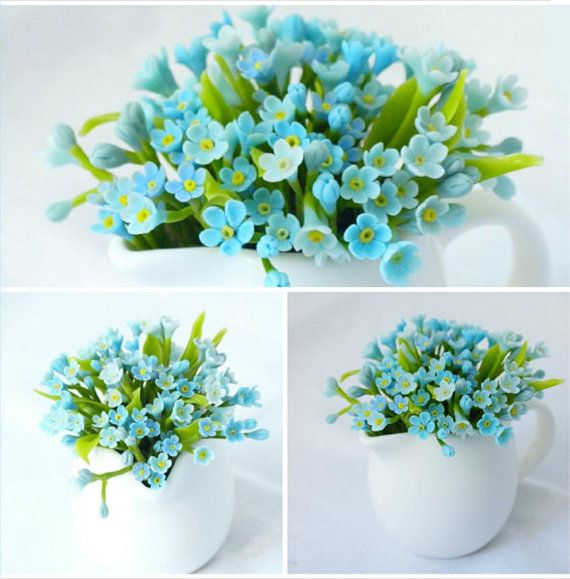 Cup With Myosotis Forget Me Not Flower Table Arrangement Table