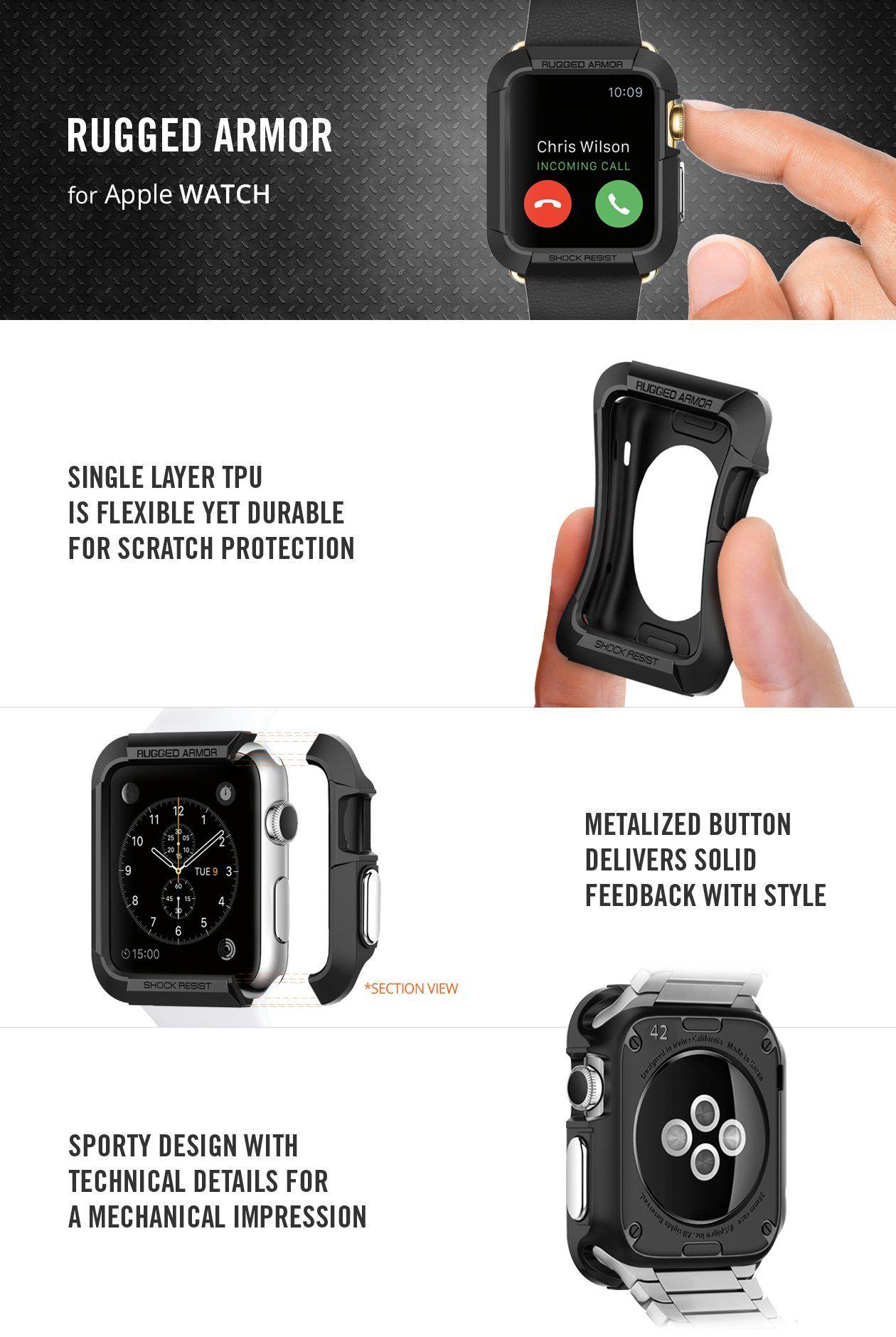 Apple Watch Series 3 2 1 42mm Case Rugged Armor Apple Watch Apple Watch Case Spigen Apple Watch