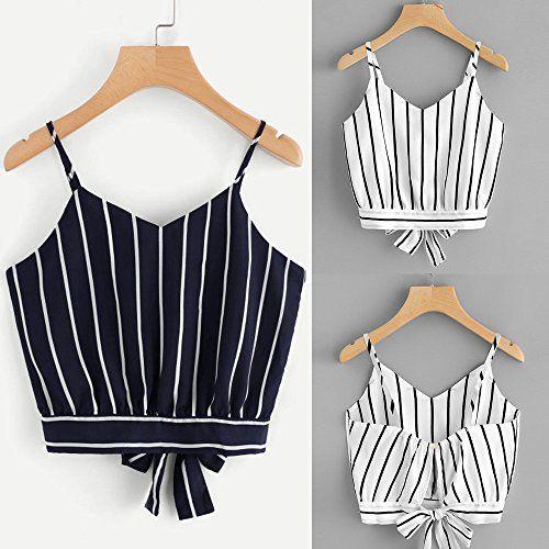 123b7f96f73e Hengshikeji Clearance Womens V Neck Striped Cami Crop Top Sleeveless T-Shirt  Teen Girls Casual Tunic Jumper