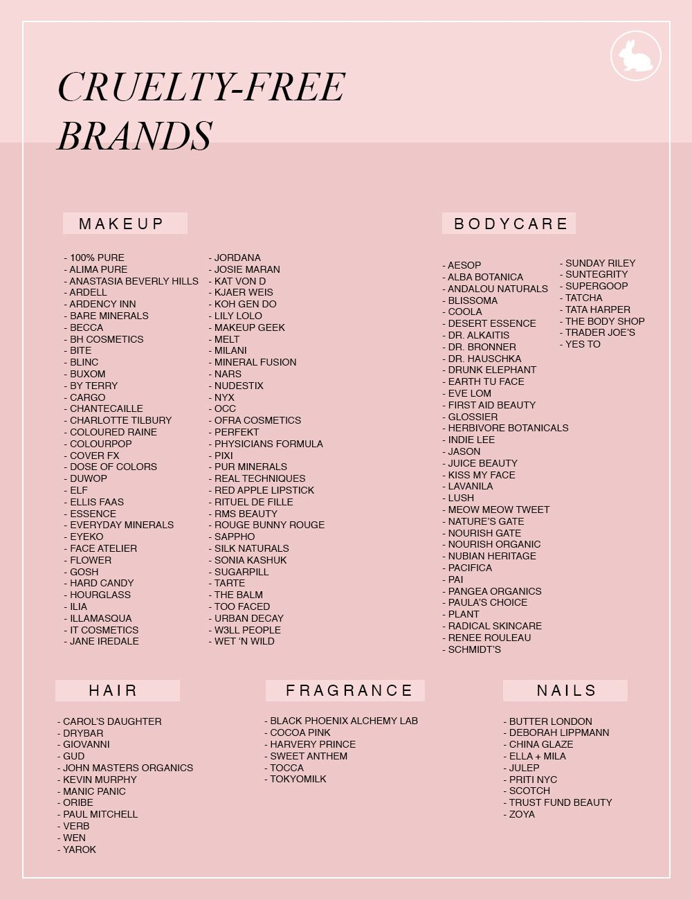 "femmefatalewithasoul: "" BRANDS THAT TEST ON ANIMALS VS BRANDS THAT DO NOT TEST ON ANIMALS """