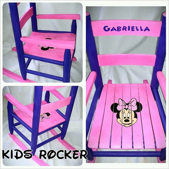 Custom Painted Minnie Mouse Childs Rocking Chair on Etsy ...