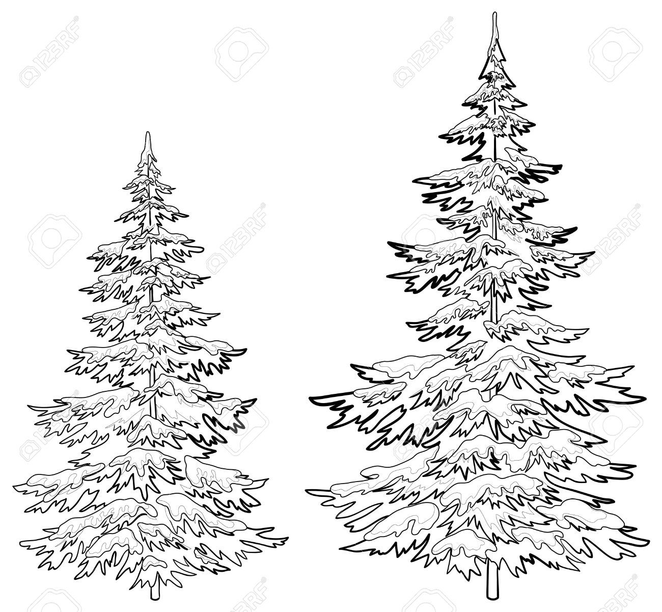 Vector Christmas Trees Under Snow On A White Background Contours Tree Drawings Pencil Christmas Tree Drawing Tree Drawing