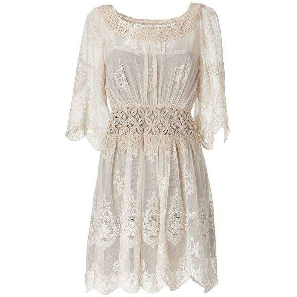 ALBERTA FERRETTI Champagne 3/4 Sleeve Embroidered Dress, found on polyvore.com