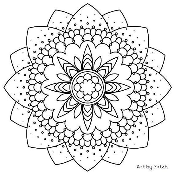 117 | Printable Intricate Mandala Coloring Pages, Instant Download ...