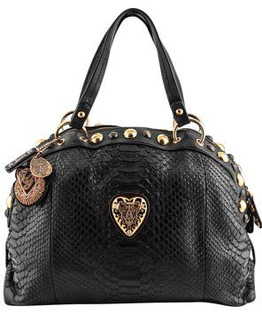 ffe2a78990c Gucci Heart Studded Babouska Black Python Skin Leather Shoulder Bag ...