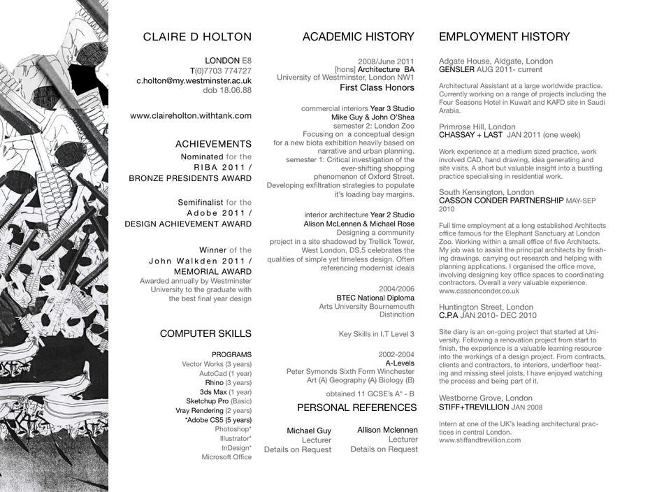 Claire Holton CV Architect Part 1 Resume Pinterest - parts of a resume