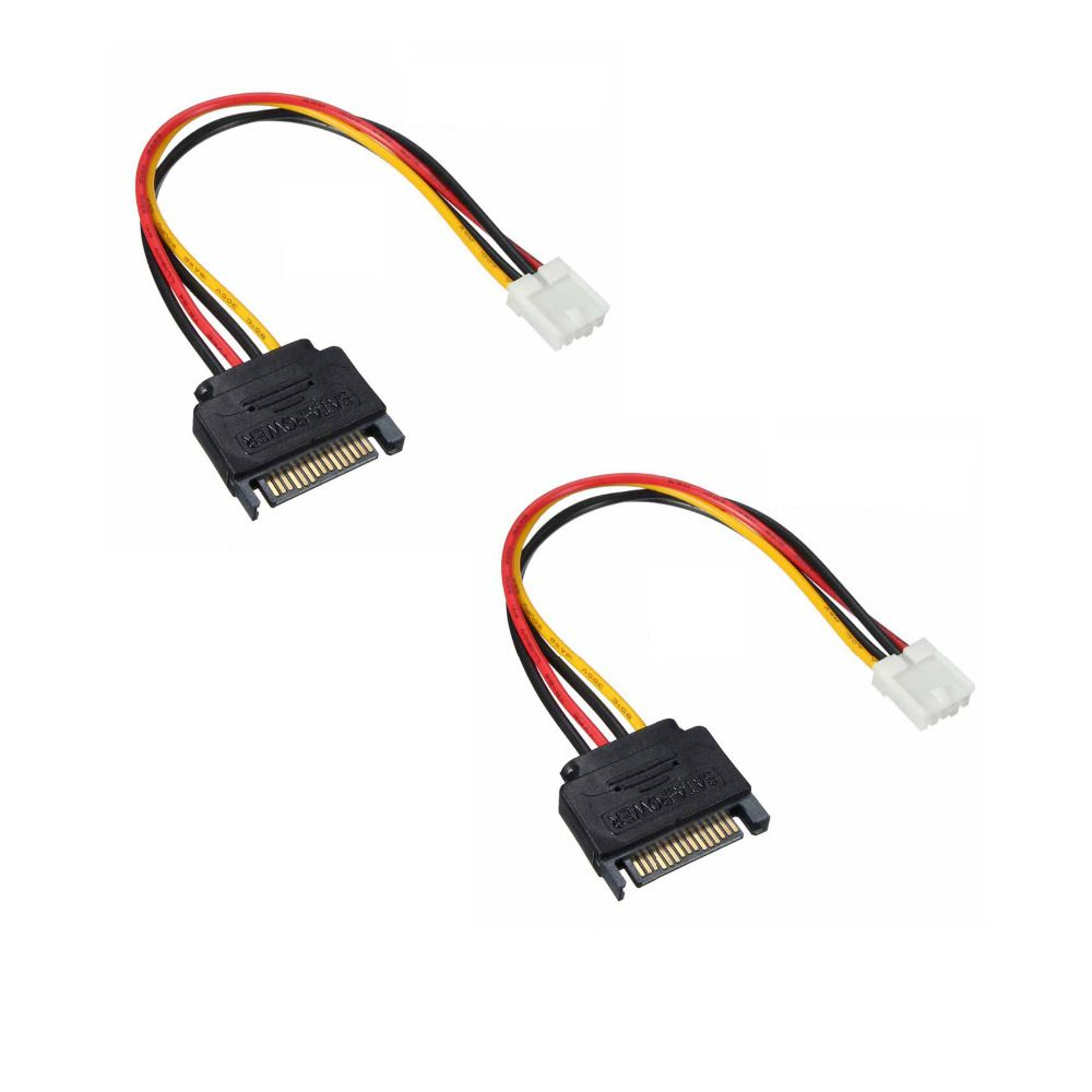 2pcs Small 4Pin to 15Pin SATA Male Power Cable Cord SATA Floppy Drive Power  Transfer Line 20cm Sata Cable Connector Q21519-2 #Affiliate
