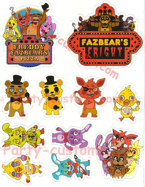 Five Nights at Freddy's Full 8 x 10 sheet die cut by NYpartyshop