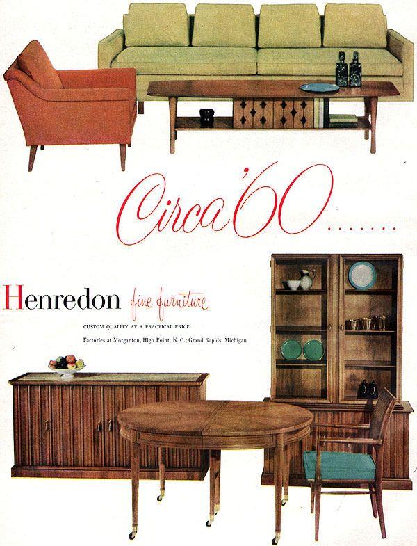 Henredon Circa 60 Furniture MID CENTURY MODERN Dining Room 5 Page 1958  Print Ad