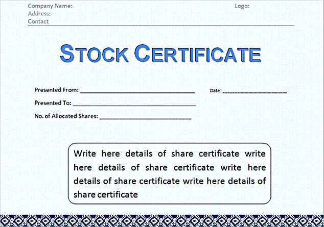 Corporate Stock Certificate Template Word Format  Stock