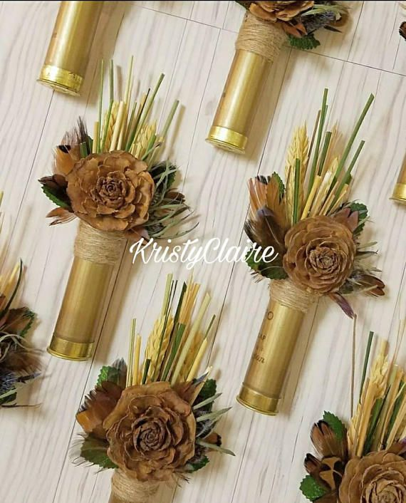 Gold Shot Gun Shell, Pine Cone Flower Boutonniere This Listing Is For 1  Fancy Boutonniere