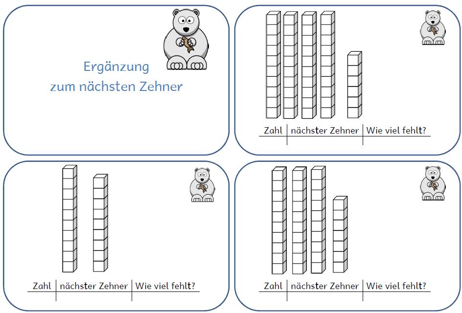 Freiarbeitskarten: Ergänzung zum nächsten Zehner im ZR 100 ...
