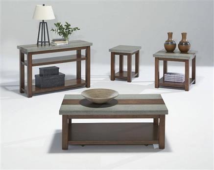 Cascade Contemporary Nutmeg Birch Rectangular Coffee Table Set 4