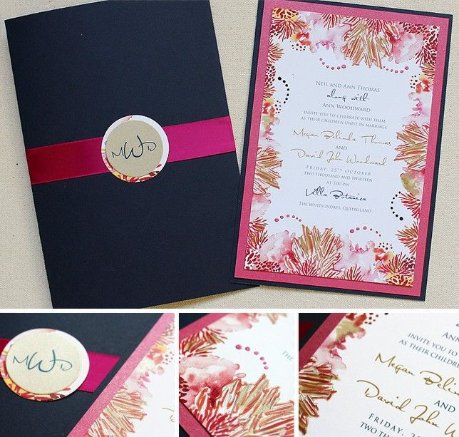 Tropical Coral Wedding Invite In Fuchsia And Navy.