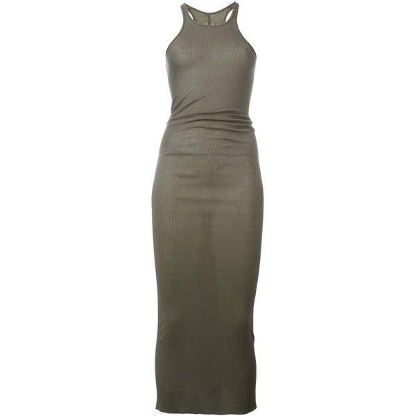Rick Owens tank dress ($194) ❤ liked on Polyvore featuring dresses, grey, gray tank top dress, gray tank dress, racerback dress, tank top dress and tank dresses