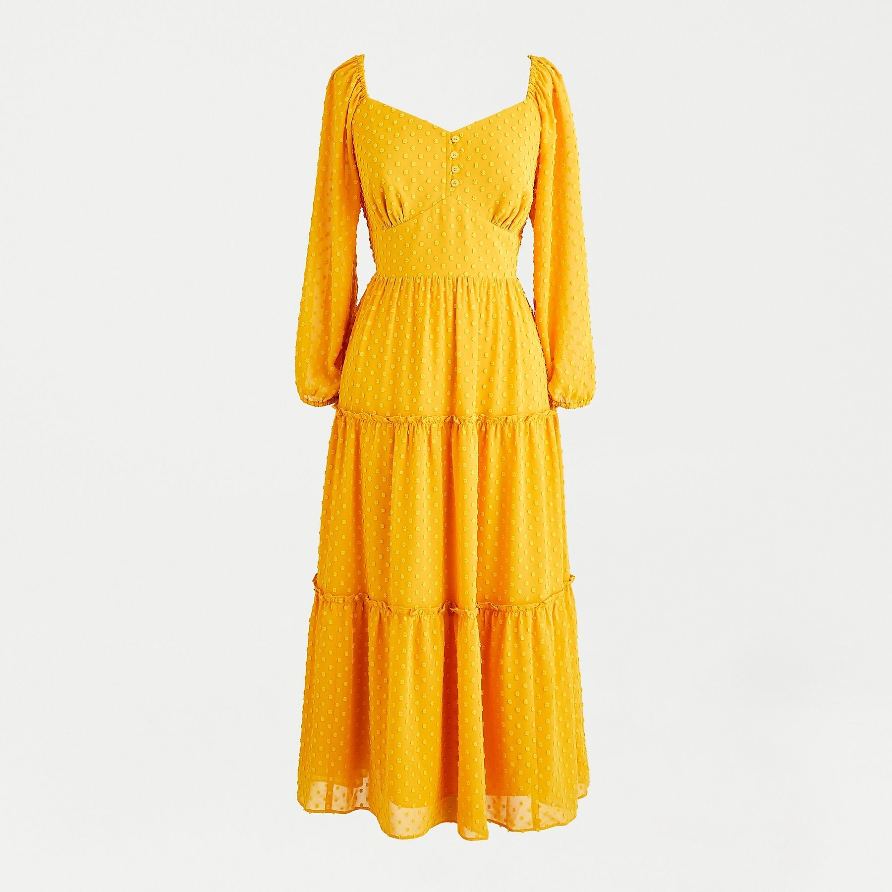 Tiered Long Sleeve Midi Dress In Swiss Dot Long Sleeve Midi Dress Long Sleeve Print Dress Womens Dresses [ 1800 x 1800 Pixel ]