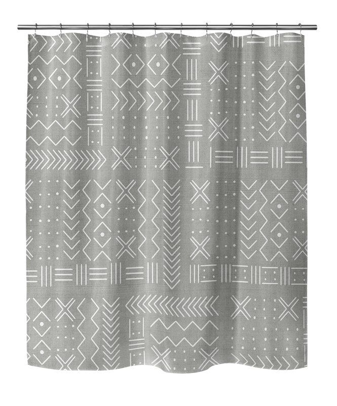 Geometric Woven Shower Curtain With Single Sided Bathroom Plantspowder Roomsshower
