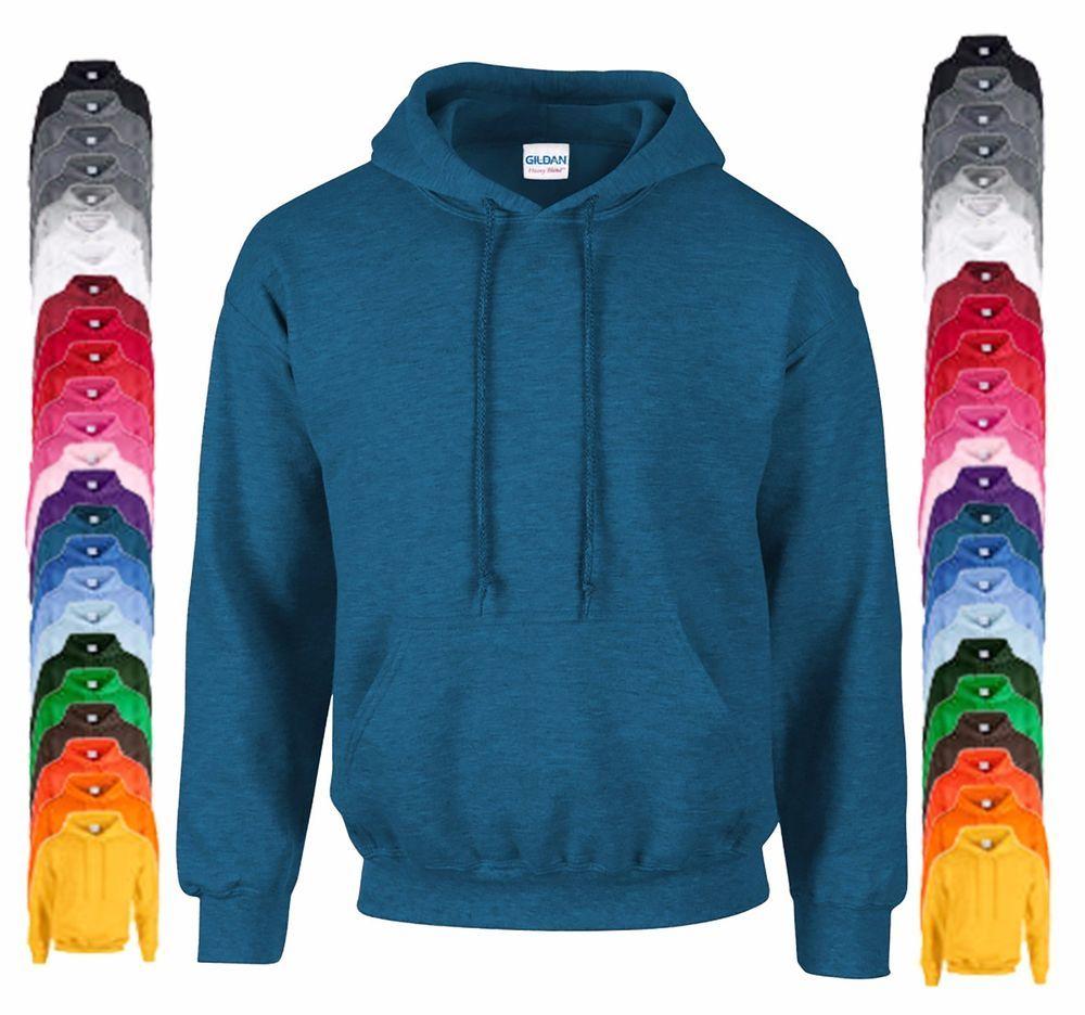 4897436c062 New Gildan Heavy Blend Plain Hooded Sweat Shirt Hoodie Sweat Hoody Jumper