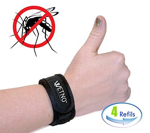 AntiMosquito Repellent Bracelet by Wetno Wrist Band For Any Occasion With 4 Free Refills All Natural DEETFREE For Adults  Children Indoor  Outdoor Insect Protection black