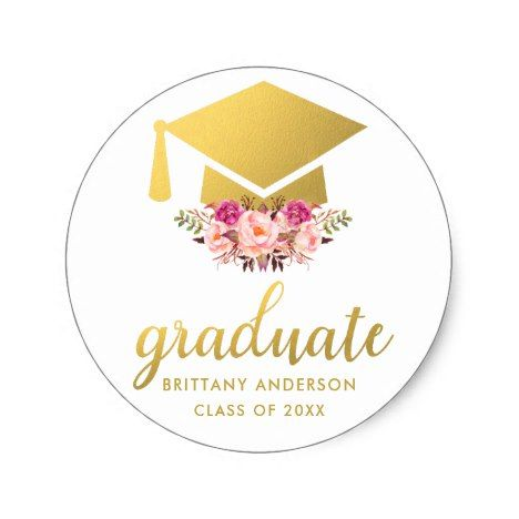 Photo of Graduate Gold Pink Watercolor Floral Classic Round Sticker | Zazzle.com