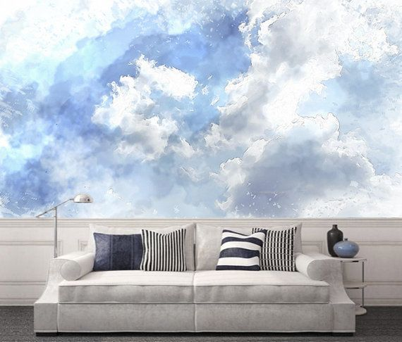 Watercolor Clouds Removable Wallpaper Peel & Stick Wall Mural Cloudy ...