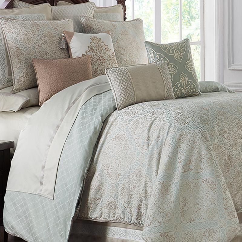 Gwyneth Pale Blue 4 Piece Reversible Comforter Set By Waterford