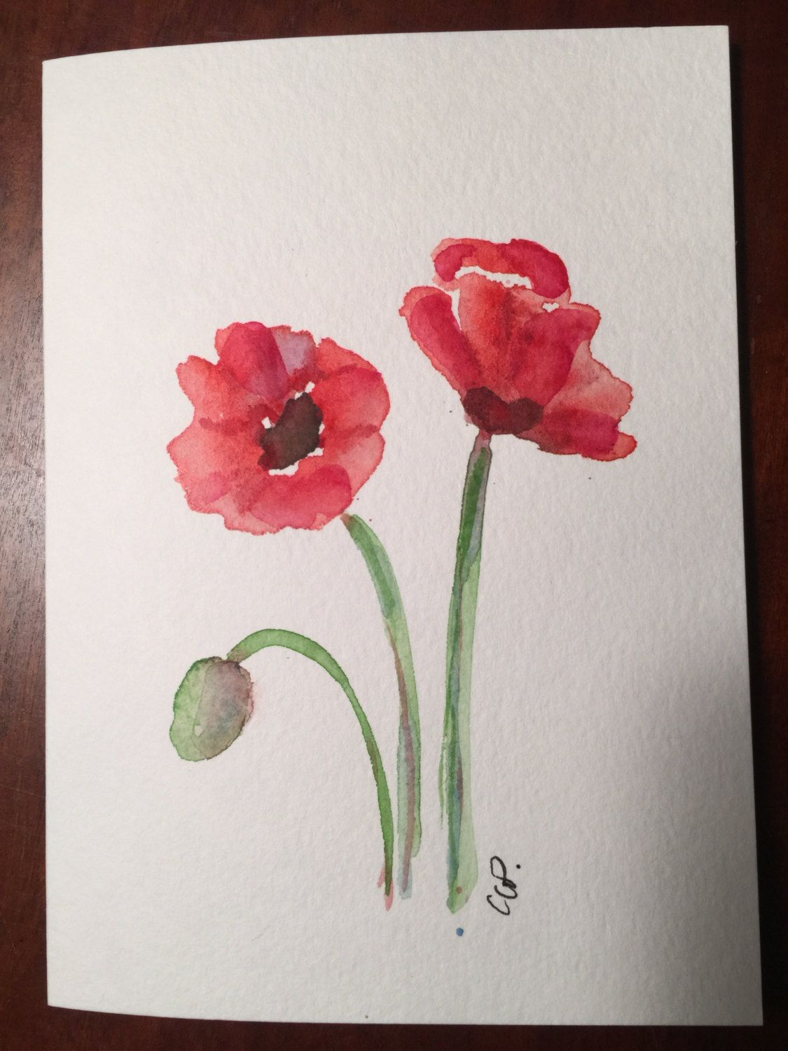 Red Poppies Watercolor Card / Hand Painted by gardenblooms on Etsy