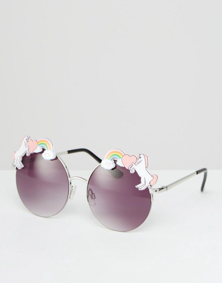 Image 1 of ASOS Unicorn Trim Detail Metal Round Sunglasses