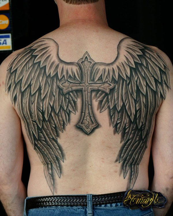 ee54d1bf1 25 Brilliant Cross Tattoos For Men | Art | Wing tattoo designs, Wing ...