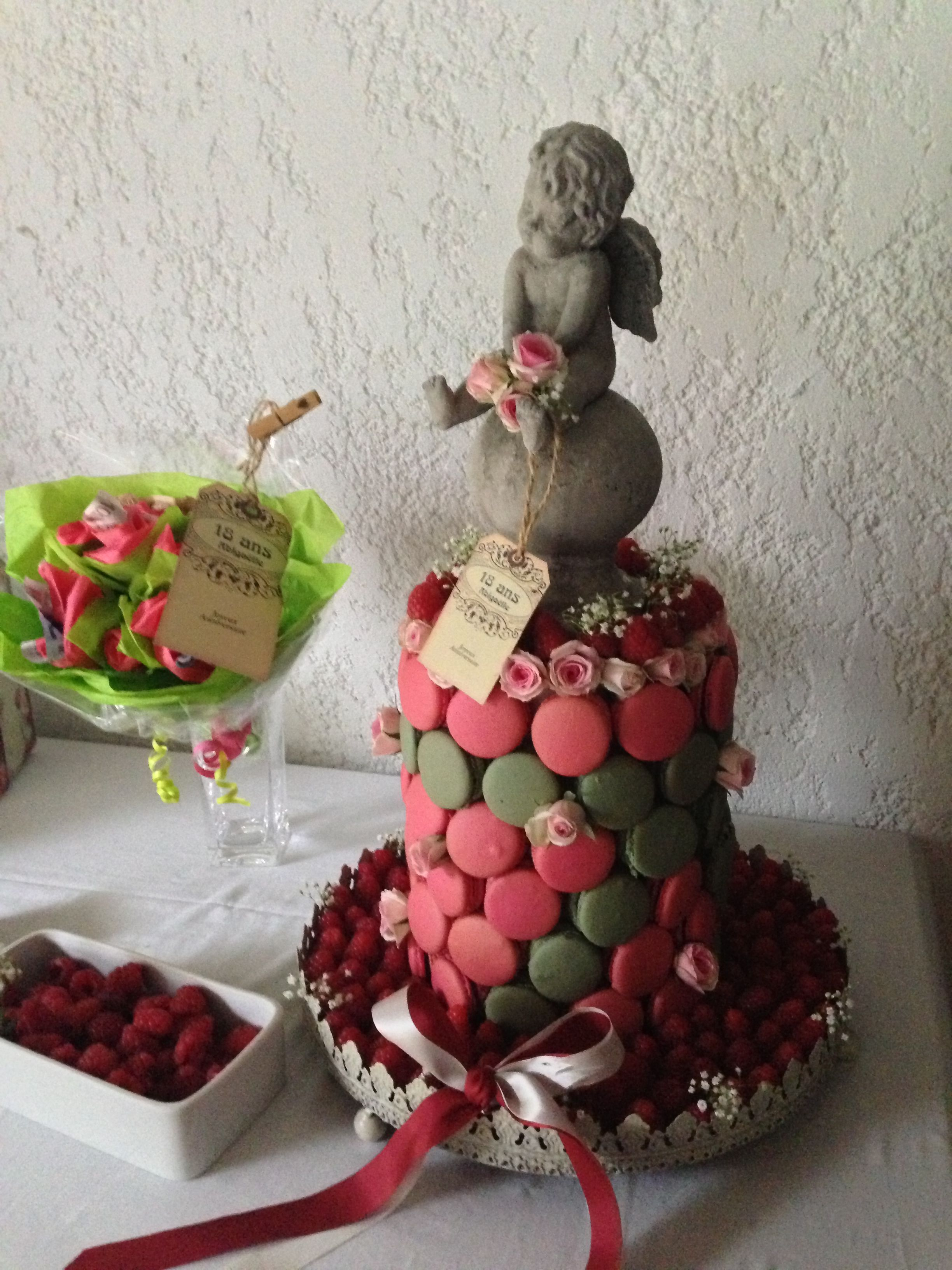 DIY Macarpn cake with raspberry
