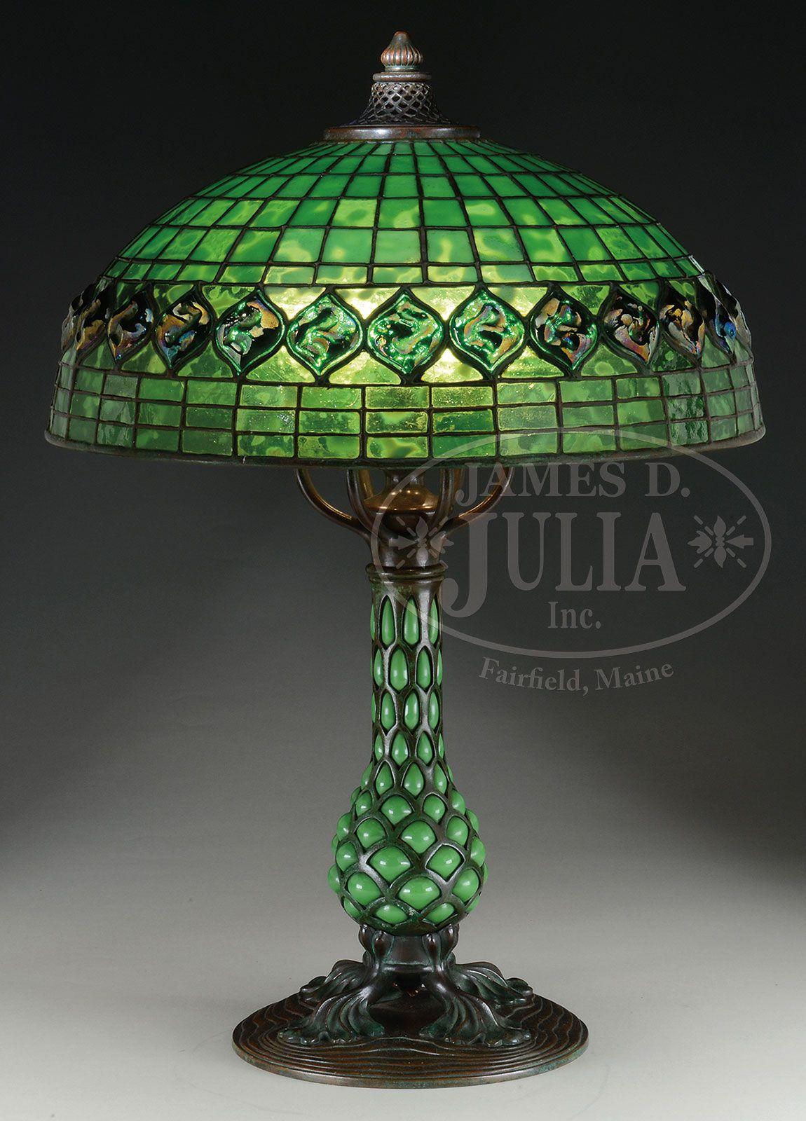 Tiffany studios turtleback on bloen out pineapple base vintage interior pinterest lampes - Meuble tiffany ...
