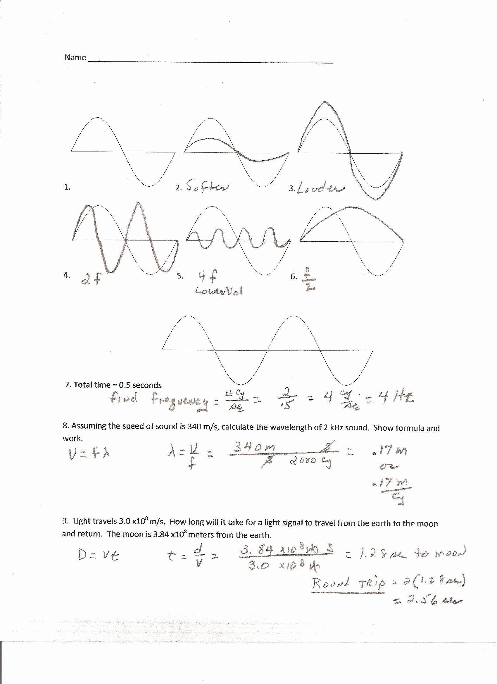 Wave Review Worksheet Answer Key Inspirational Worksheet