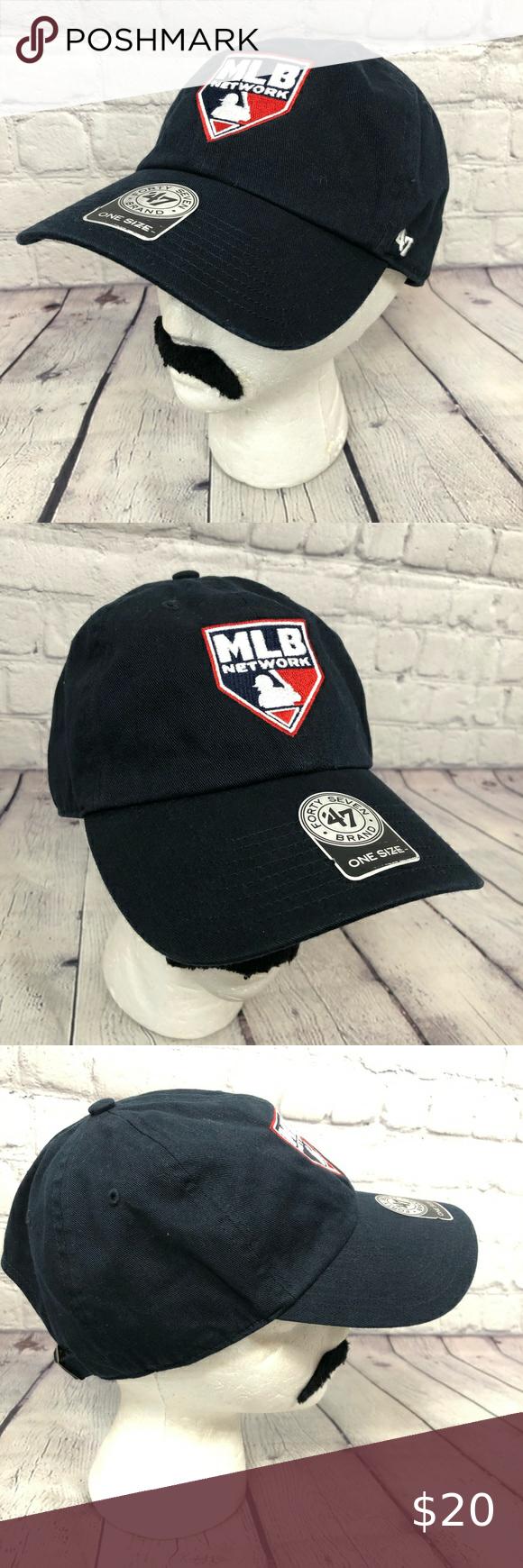 Mlb Network Navy Blue Red White Baseball Hat Baseball Hats Blue Hat 47 Brand