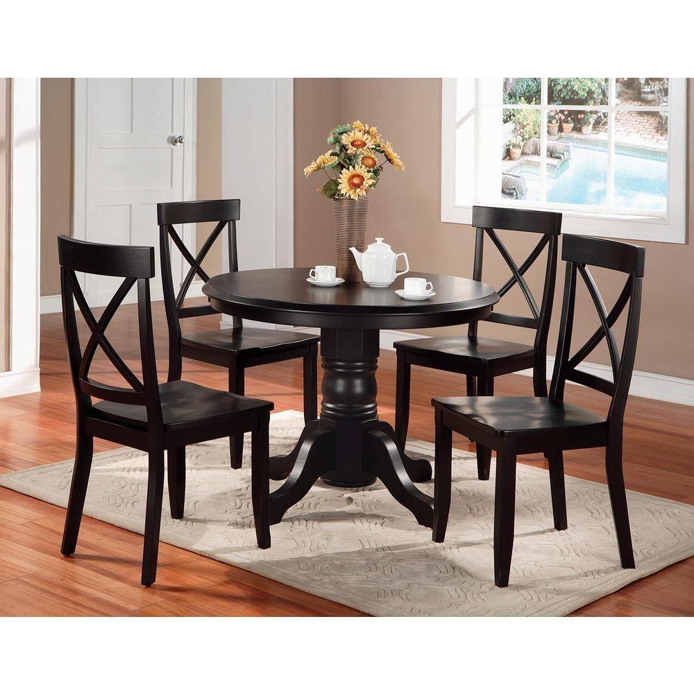 Homestyles 5 Piece Black And Oak Dining Set Black W Oak Top In