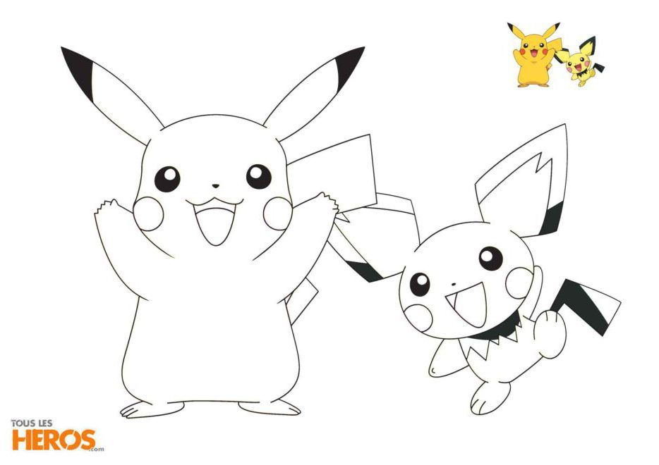 Coloriage Pokémon Pikachu Et Pichu 著色線稿 Pikachupokémon 和