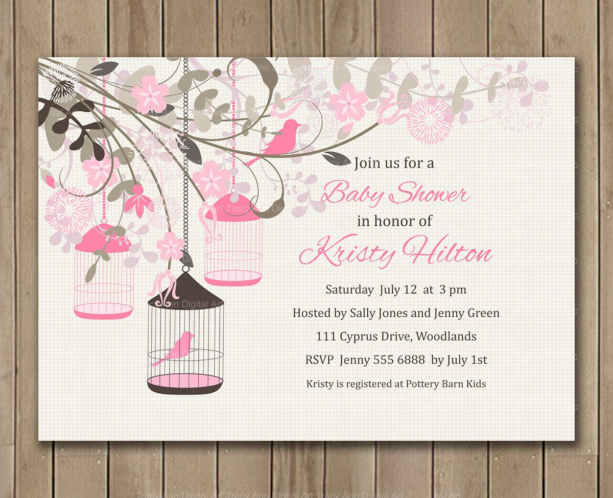 Pink floral Baby Shower Invitation, Flowers, Bird cage, Digital ...